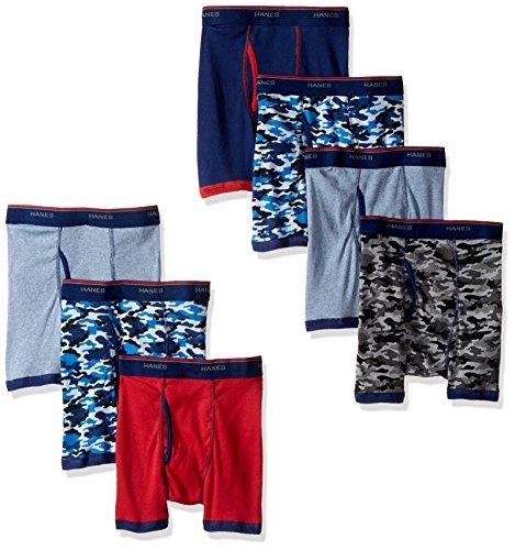 Hanes Big Boys' Red Label Comfort Flex Sport Ringer Boxer Briefs 7 Pack, Assorted, Small