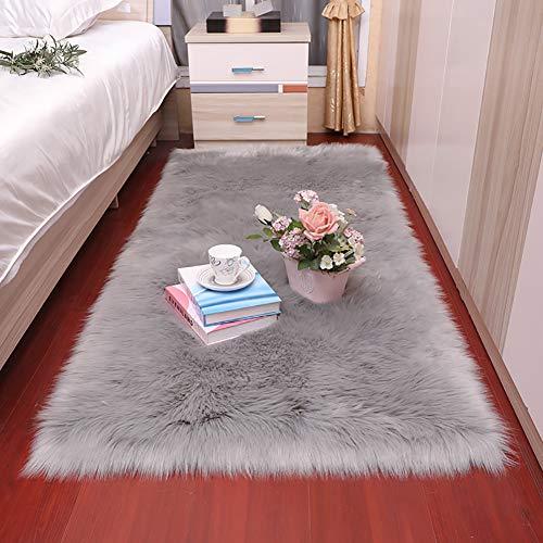 GOPG Künstliche Wolle Teppich, Super Weich Flauschiger Teppich Sofakissen Bett Teppichboden Geeignet für Wohnzimmer Schlafzimmer Kinderzimmer-Hellgrau-80x200Cm(31x79Zoll)
