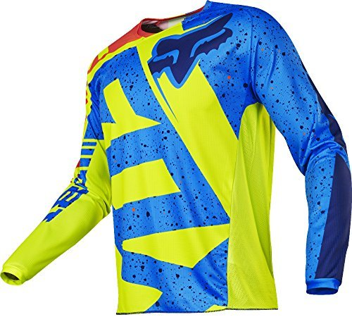 Fox 2017 Kinder Motocross / MTB Jersey - 180 NIRV - gelb-blau: Größe Jersey: L 135-146 cm