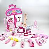 LZFASD Kinder Kinder Spielzeug Set Ärzte Krankenschwestern Pretend Spielen Rollenspiele Cosplay Medical Kit Trolley Fall Set Für 3 + Jungen Mädchen Educational Geburtstag Weihnachtsgeschenk 22ST,Pink