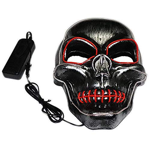 Lady First Kostüm - acccc Halloween Cold Light Mask Devil Scary Carnival Party Carnival Led Ghost Walking Festival Masquerade Man Woman One Size PVC