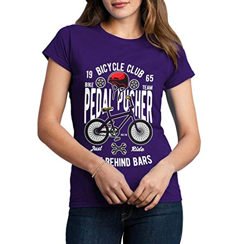 C411WCNTP Damen T-Shirt Pedal Pusher Bikes Racing Team Club Shop Born to Ride Pedal Pusher Full Speed Legend Classic(Small,Purple) -