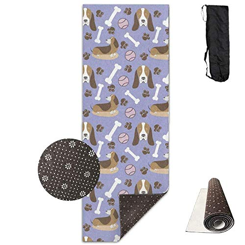 Deglogse Yogamatte/Übungsmatte,Yoga Mat EcoFriendly Anti Slip Basset Hound Puppy Patttern Yoga Mat Cute Yoga Towel Carrying Strap & Bag NonToxic Printedfor Exercise,Yoga and Pilates -