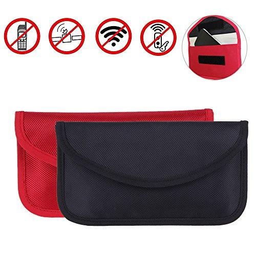 Go-smart-phone (Strahlenschutz Tasche Secure Bag für Smartphones Handytasche gegen Handy Ortung, Abhören & Spionage für Keyless Schlüssel Entry Open Go Diebstahl Schutz,[2er Pack, Schwarz + Rot])