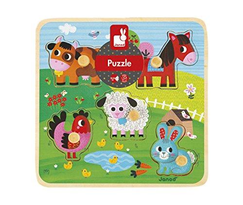 Janod-Jouet en Bois-Chunky Puzzle Animaux de la ferme avec bouton Puzzle 5pièces 1écran multicolore