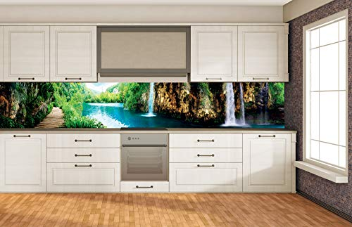 DIMEX LINE Küchenrückwand Folie selbstklebend ENTSPANNUNG IM Wald 350 x 60 cm   Klebefolie - Dekofolie - Spritzschutz für Küche   Premium QUALITÄT