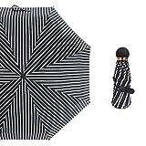 Ultra Light Gestreifter Regenschirm-Klapp Schirm UPF50 + UV-Schnitt Rate 100% Sonnenlicht Reflektiert Schatten Cool 5 Schritte 8 Knochen Leicht Zu Tragen SEIU Mit Mini-Schirm-Speicher Tasche ,Whitestripe