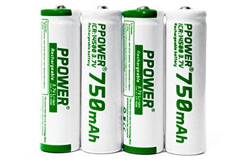 4 Packungen ppower 14500 ICR 750mAh 3,7 V Lithium-Ionen-Akku + 1X Batteriekästen