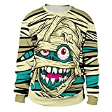 Lazzboy Halloween Damen Herren Sweatshirt Pullover Langarm Tops Bluse(Grün,44)