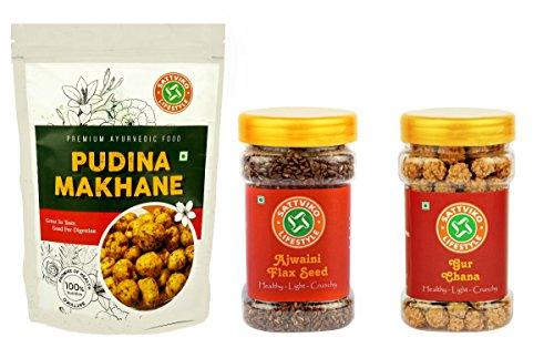 Sattviko Pudina Makhana, Ajwaini Flax Seed and Gur Chana Combo  available at amazon for Rs.120
