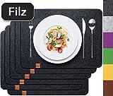 Sidorenko Edles Platzset aus Filz 6er Set anthrazit - Tischset Abwischbar 44x32cm Filzuntersetzer - abwaschbare Tischuntersetzer Platzdeckchen - grau Untersetzer...