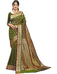 Craftsvilla Women's Silk Traditional Buti With Zari Border Work Green Saree With Blouse Piece
