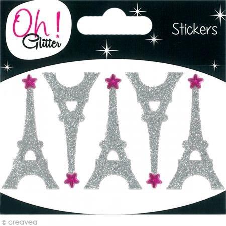 Oh ! Glitter Stickers Tour Eiffel glitter, Autre, Argent, 6.5 x 8 x 0.2 cm