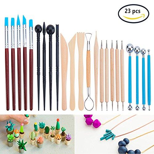 BENECREAT 23PCS Kugelschreiber punktiert Modellierung Werkzeuge Keramik Carving-Tool-Set - enthalt Clay Color Shapers, Modellierwerkzeuge & Holzskulptur Messer fur Berufs- oder Anfanger