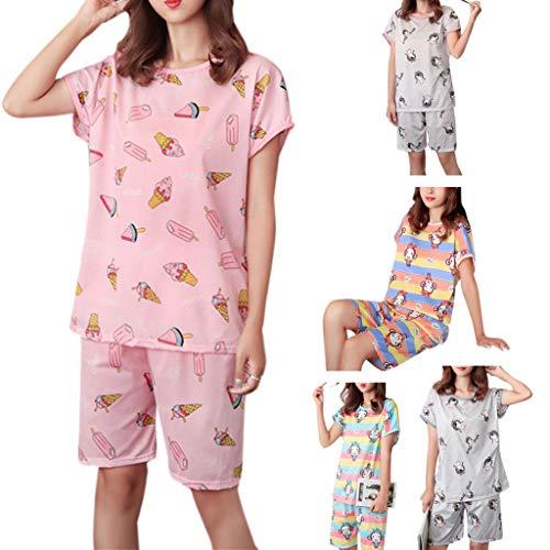 Fugift 6 Styles Women Girls Summer Milk Fiber Pajamas Set Short Sleeve Tops Cartoon Ice Cream Animal Rainbow Stripes Printed Shorts Loose Sleepwear
