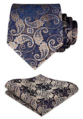 Hisdern Extra lange Blumen Paisley Krawatte Taschentuch Herren Krawatte & Einstecktuch Set Gold und Blau Design-krawatte Tie