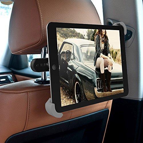 iPad Car Holder - MEMTEQ Tablet Headrest Mount Car Backseat Holder With 360 Degree Rotation Tablet Car Holder for iPad Mini, iPad Air, 7 - 10.5 Inch Tablets, Travel Kit (Black and Grey)