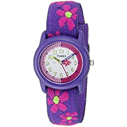 Timex Children's T89022 Purple Cloth Quartz Watch with White Dial