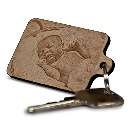 Schlüsselanhänger aus Holz mit Foto-Gravur (Fotogravur) Bild Es Buchen