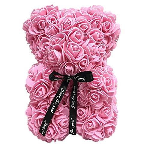 Peluche orso teddy toy rose flower simulation pink, usato per la decorazione, regalo di san valentino, regali di compleanno, regali di festa