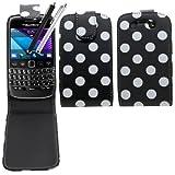 SAMRICK Polka Dots Étui à rabat en cuir pour Blackberry 9790 Bold avec protecteur d'écran, lingette microfibre et stylet noir capacitif Noir/blanc
