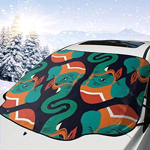 Mattrey - Parasol para Parabrisas de Coche, diseño de Elefante, Negro, Talla única