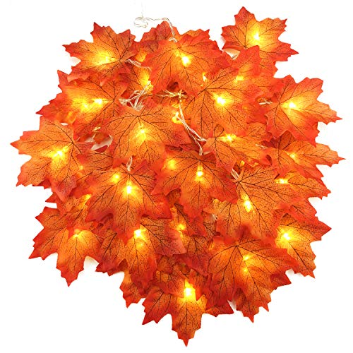 Beetest 4 M 40 Led Artificial Autumn Maple Leaves String Luces De...