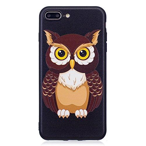 Coque iphone 6 / 6S,Coffeetreehouse Motif soft coloré de motif estampé Noir mince TPU Protecteur Case Pour iphone 6 / 6S(Flash papillon) Hibou marron