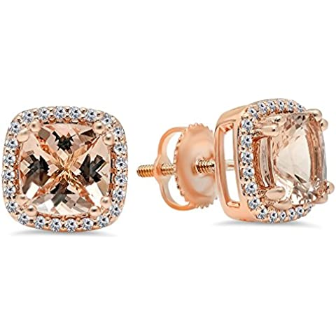 14 K oro rosa cojín Cut Morganite Y Redonda Cut White Diamond Ladies Halo Estilo Pendientes De Tuerca