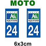 Autocollant plaque immatriculation pour moto Aquitaine département - Aquitaine / 33 Gironde