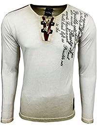 Printed Motiv Druck Herren Langarm Shirt T-Shirt Longshirt A1-RN10115