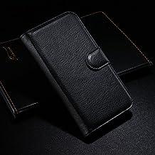Qiaogle Teléfono Case - Funda de PU Cuero Billetera Clamshell Carcasa Cover para Alcatel Onetouch Idol Alpha OT-6032 / 6032A / 6032X - FC02 / Negro Moda Elegante estilo