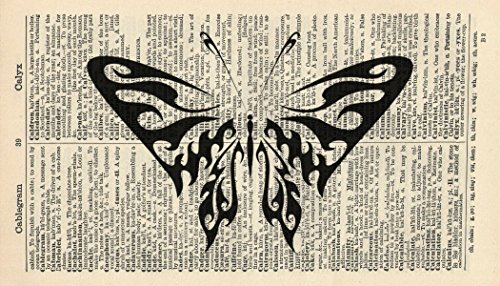 tribal-butterflyart-print-insect-art-print-vintage-art-print-vintage-dictionary-art-print-animal-wal