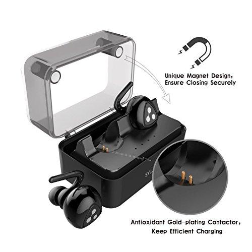 Auriculares Bluetooth Estéreo  Syllable D900 mini Auriculares deportivos in ear Bluetooth 4.2 Manos Libres con microfono con Caja de Carga para iPhone y otros Smart Phones Negro