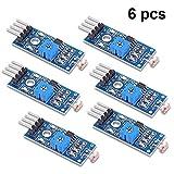 PEMENOL 6 STK. G5516 Fotowiderstand, 4 Anschlüsse Photodetektor Licht Sensor Modul LM393 Dual Comperator für Arduino, Raspberry Pi