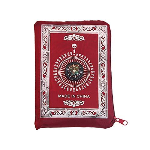 llwei258 Llwei Tragbarer Islam Gebetsteppich Kompass Typ islamische Pilgerfahrt Gebetsdecke muslimische Supplies rot - Islam-teppich