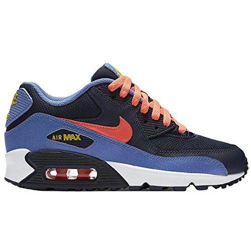 Nike Mädchen Air Max 90 Mesh (Ps) Turnschuhe Schwarz / Gelb / Blau (