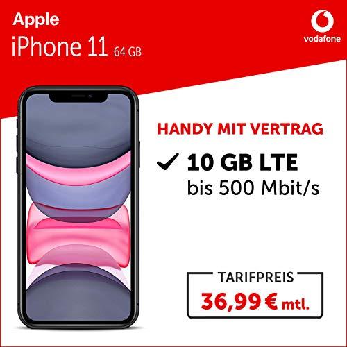 Apple iPhone 11 Handy (64GB, mit Vertrag (Vodafone Smart L Plus) 10GB LTE 24 Monate Mindestlaufzeit) schwarz