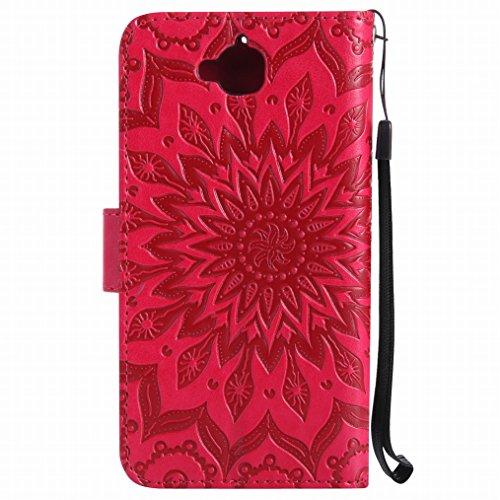 LEMORRY Huawei Y6 Pro / Honor Play 5X / Enjoy 5 Custodia Pelle Cuoio Flip Portafoglio Borsa Sottile Bumper Protettivo Magnetico Morbido Silicone TPU Cover Custodia per Huawei Y6 Pro, Fiorire Porpora Rosso