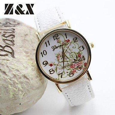 Reloj de moda las flores simplicidad de cuarzo del análogo de cuero de las mujeres (colores surtidos) ( Color : Blanco )