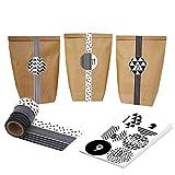 DIY Adventskalender mit WashiTape - zum selber basteln und befüllen - schwarz weiß - mit 24 Zahlenaufklebern und Papiertüten - Set 4