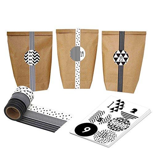 DIY calendario de adviento con Washi Tape? Bricolaje y rellenar)? Negro Blanco? Con 24Número pegatinas y bolsas de papel?–Juego de 4