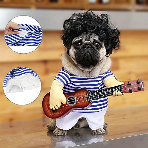 Idepet Lustige Gitarrenhund Kostüme Haustierbekleidung Hundekleidung Anzug für Welpen Kleine Mittlere Hunde Chihuahua Teddy Pug Weihnachten Party Halloween Kostüme Outfit (M)