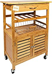 WoodLuv Bamboo Kitchen Storage Trolley Cart with Drawer