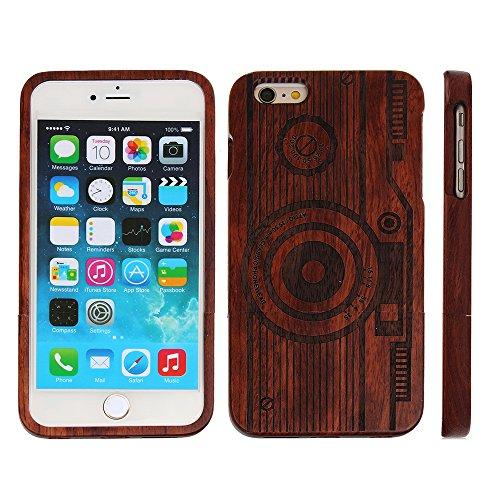 Holz Schutzhülle für iPhone 7 Naturholz von Carved Muster Natürliche Echtem Holz Schutz Hülle Hart Bumper Case für Apple iPhone 7 4.7 Zoll, Wolf Kamera