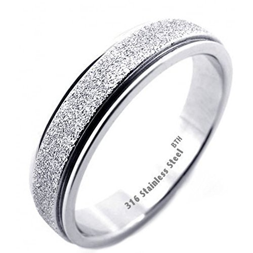 Ladies Ring - Silver Colour Sparkle Inlay Ladies Luxury Stainless Steel Wedding Engagement Band Ring - Comes In A Gift Box -