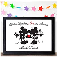 DISNEY Mickey Minnie PERSONALISED Valentines Day Gifts for Couples Mr Mrs Love - PERSONALISED ANY NAMES for Anniversary, Birthday - Black or White Framed A5, A4, A3 Prints or 18mm Wooden Blocks