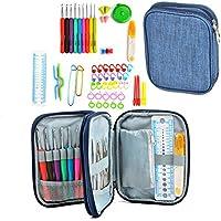 Conjunto de Ganchillo Kit 60 piezas Agujas de Ganchillo Herramientas Incluyendo los ganchos de tejer, las agujas, las tijeras y más Perfecto para proyectos de artesanía, textiles hechos a mano