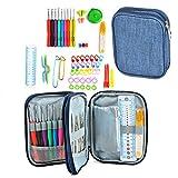 Multifunktionale Häkelnadeln Set, 60 Stück DIY Metall Häkelnadel Werkzeuge mit Tasche, Einschließlich Strickhaken, Nadeln, Schere, Ideal für Bastelprojekte, Reparaturkleidung, Handgefertigte Textilien