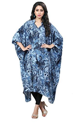 Justkartit Women's Light Blue & Black Colour Floral Printed Party Wear Kaftan / Women Party Wear Dresses 2017 / Latest Evening Wear Short Kaftans